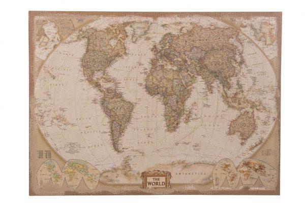 Wereldkaart Op Linnen M