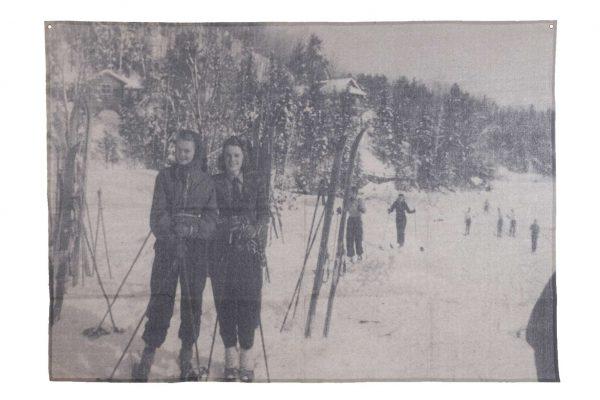 Stoffen Wandkleed Ski Print