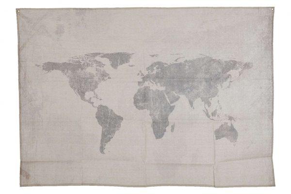 Stoffen Wandkleed Wereldkaart