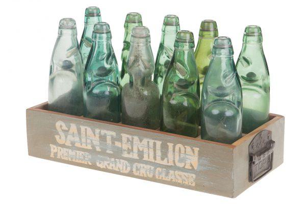 Houten Krat Met 10 Vintage Flessen