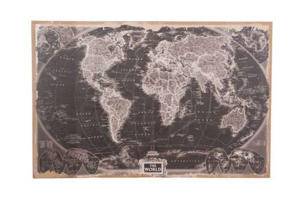 Zwarte Wereldkaart Op Linnen