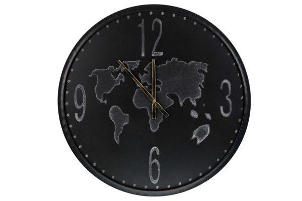 Wand Klok Hout Zwart Wereldkaart