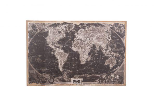 Wereldkaart Op Linnen 118 Cm Zwart