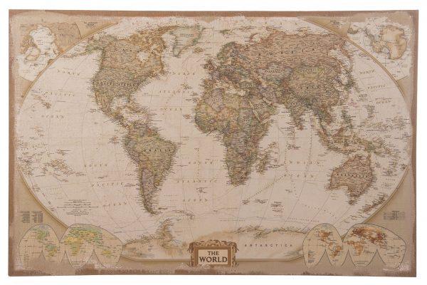 Wereldkaart Op Linnen 118 Cm Multicolor