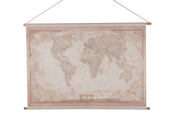Linnen Wereldkaart Met Een Touw