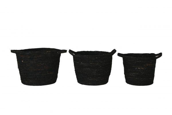 Zwarte Manden Met Handvaten Set Van 3