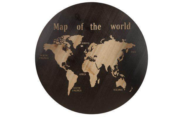 Wereldkaart Hout Rond