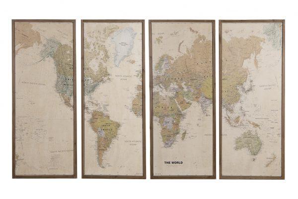 Wereldkaart Hout 4 Delig