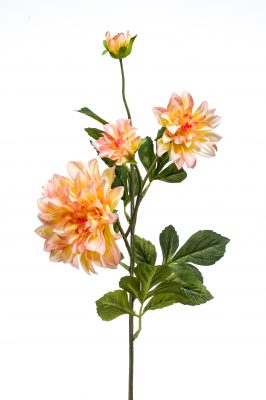 Kunstbloem Dahlia Geel/oranje (2 Stuks)