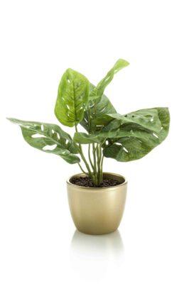Kunst Monstera Plant In Goudkleurig Pot (2 Stuks)