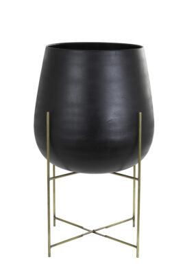 Bloempot Zwart Op Metalen Standaard L