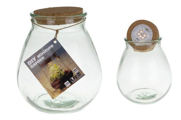 Glazen Pot  Voor Plantjes Met Led Verlichting M