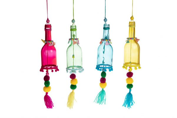 Gekleurde Hangers Van Glas (4 Stuks)