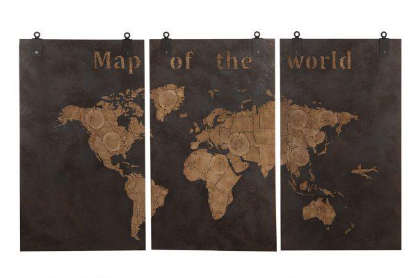 Houten Drieluik Wereldkaart Rusty