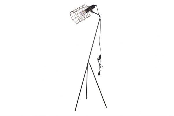 Zwarte Metalen Staande Lamp Met Goudkleur