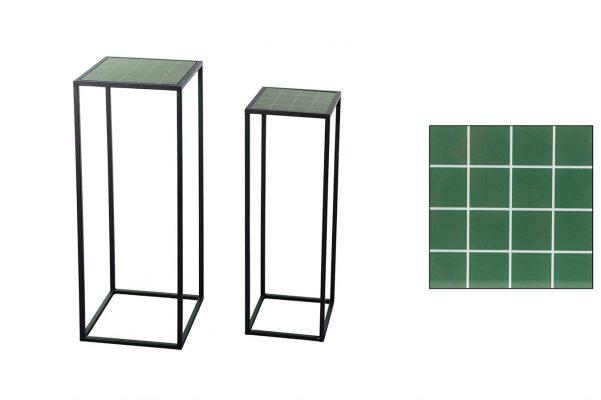 Sidetable Zwart Metaal Met Groen Set Van 2 Stuks