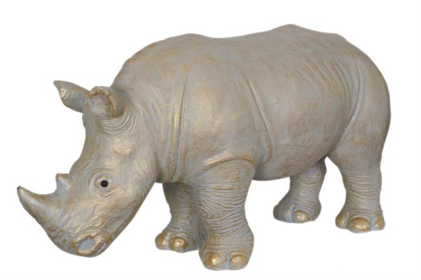 Levensechte Neushoorn Decoratieobject Gold Wash
