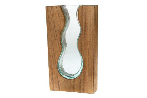 Vaas Van Glas In Een Houten Omhulsel