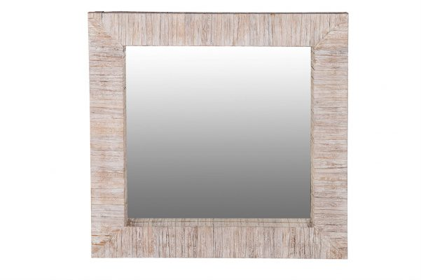 Vierkante Spiegel Van Hout En Bladmotief