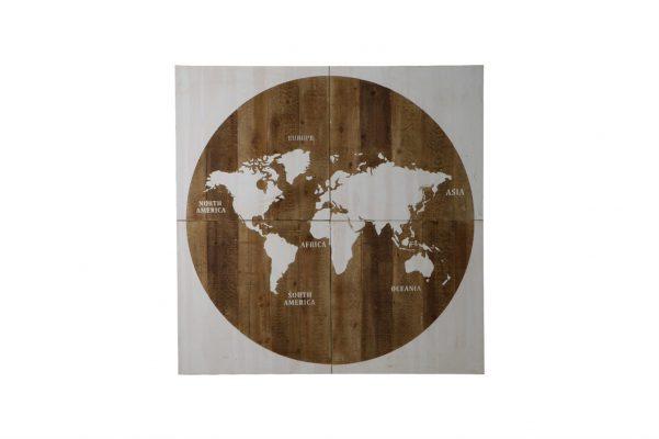 Vierkante Wereldkaart Met Ronde Wereld