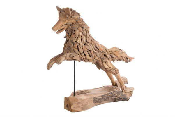 Teak Houten Springende Wolf XL